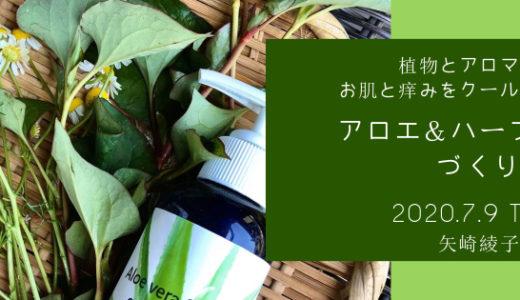 【7月9日】植物とアロマでお肌と痒みをクールダウン♪アロエ&ハーブジェルづくり